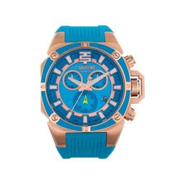 Technosport reloj de señora con correa de silicona en azul turquesa y caja de acero con acabado en rosa.