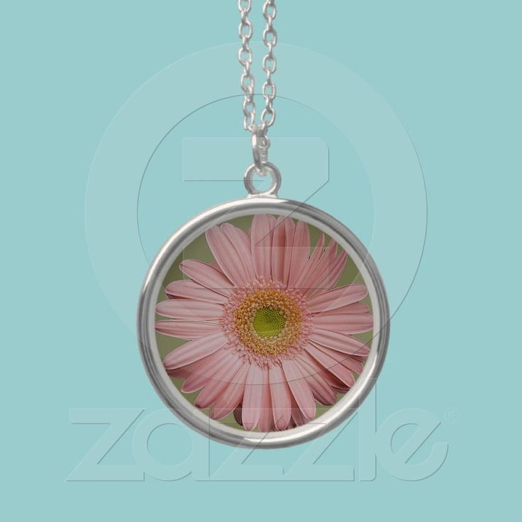 Pink Gerbera Necklace  A beautiful gerbera in a very light pink and a soft green eye makes this a lovely necklace pendant. A gorgeous gift for a woman or a teenage girl.  $32.90