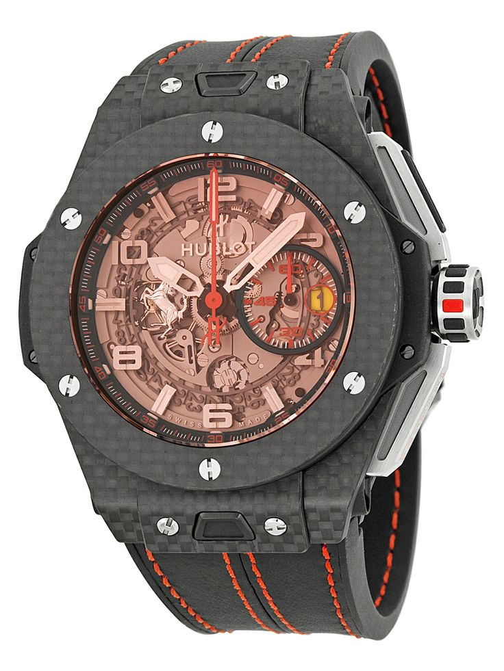 "Hublot Men's Ferrari Carbon Red Magic Automatic Openwork Dial Watch  NZ$32,650.30 Gilt (incl. Duties and GST)  From the makers of the most expensive watch the ""5 Million""  http://www.hublot.com/en/news/the-5-million  http://starcasm.net/archives/186463"