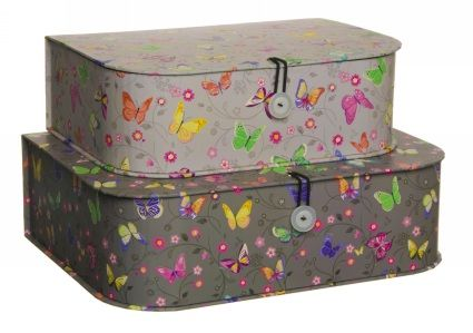 Amelie Colourful Butterfly and Floral Storage Boxes (Pack of 2)