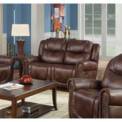 Witiker Bonded Leather Brown Dual Reclining Loveseat | Overstock.com Shopping - Great Deals on Sofas & Loveseats