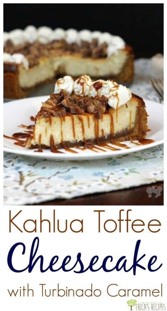 Kahlua Toffee Cheesecake with Turbinado Caramel from EricasRecipes.com