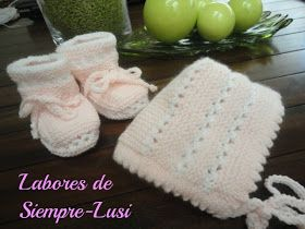 MATERIALES: - Lana rosa y blanca para bebé - Agujas del 2 y 1/2 - Ganchillo de 2 mm - Aguja lanera para coser PUNTOS ...