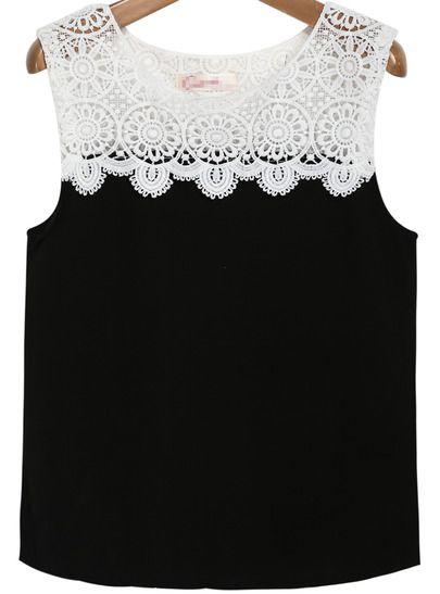 Camiseta gasa combinada encaje-negro
