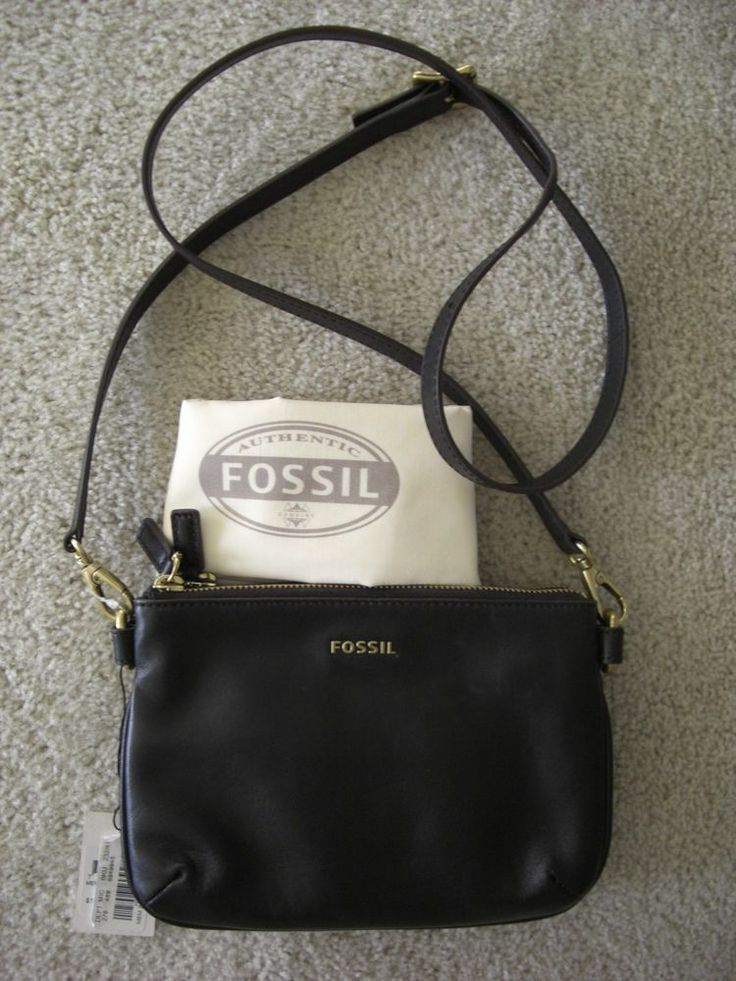 FOSSIL Memoir Crossbody Black Leather Pocketbook Top Zipper Bag