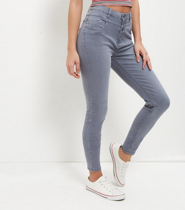 Light Grey High Waist Super Skinny Jeans  | New Look