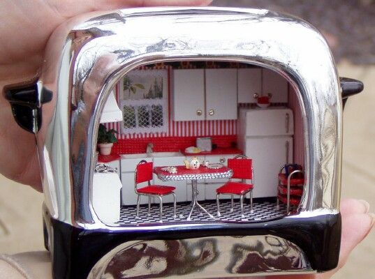 Dollhouse Miniature - Quarter Scale Kitchen in Toaster.  Wow is all I can say!