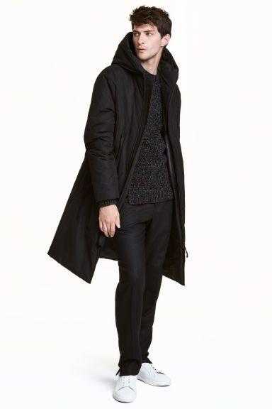 Watowany płaszcz z kapturem   H&M