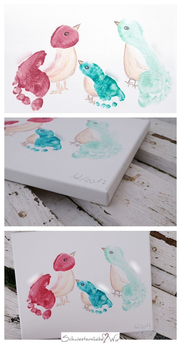 Gift idea // Children's feet on canvases  – Kinder – kreativ, basteln, malen