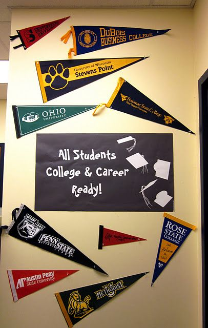 have to make this!! I plan to ask parents to bring in their school alums memorabilia : College pennants for college readiness bulletin board