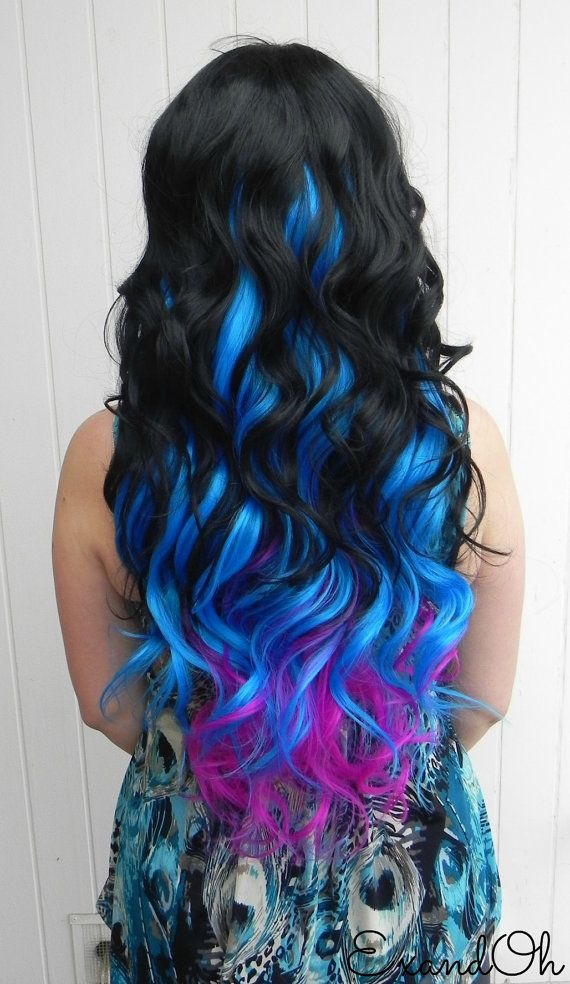 ON SALE / Black Neon Violet Blue / Long Curly Layered by ExandOh