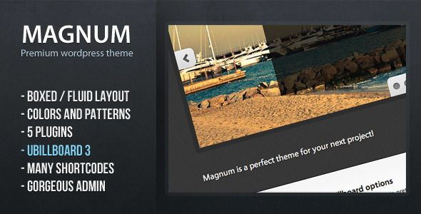 Magnum - premium wordpress theme   http://themeforest.net/item/magnum-premium-wordpress-theme/549855?ref=damiamio       Magnum is a Premium WordPress theme that is focused on providing its users with flexibility and options that give them opportunity to create stunning and unique design variations for their sites. The ability to choose between boxed and fluid design, color selector for both header and body background, pattern selector for header and body background and 222 different Google…