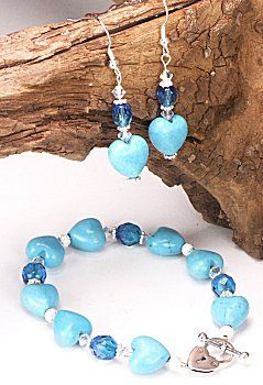 Jewelry Making Idea: Hearts of Turquoise Bracelet and Earring Set (eebeads.com)