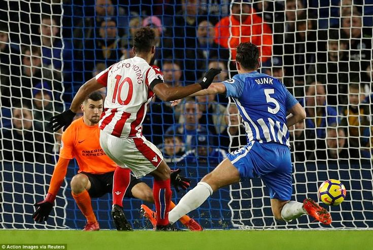 The Potters striker brought down a long ball by Xherdan Shaqiri and fired past Brighton goalkeeper Mathew Ryan