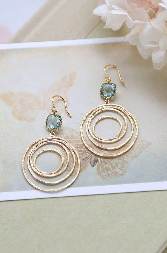 Aqua Blue Glass Gold Swirl Hoop Earrings, Aquamarine, Gold Circle, Modern Everyday Earrings, Boho Chic Bohemian Hoop dangle Earrings