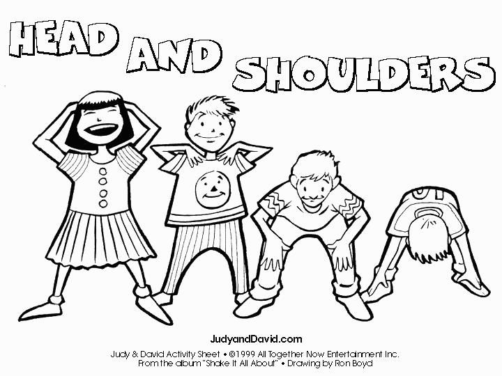 Head Shoulders Knees And Toes Coloring Sketch Coloring Page Me