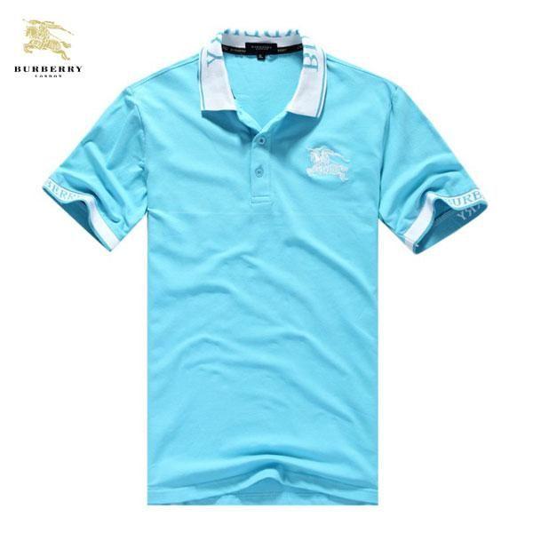 Camisetas Burberry Hombre SB12Camisetas Burberry Hombre Manga Corta Polo Cuello Azul Color Puro y Alta Calidad