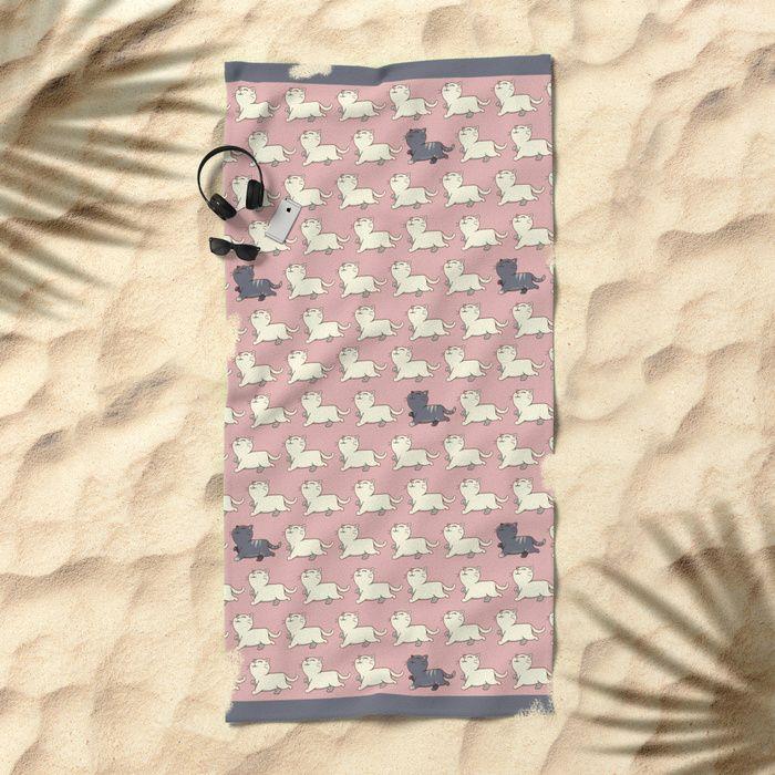 Proud cat pattern Pink Beach Towel