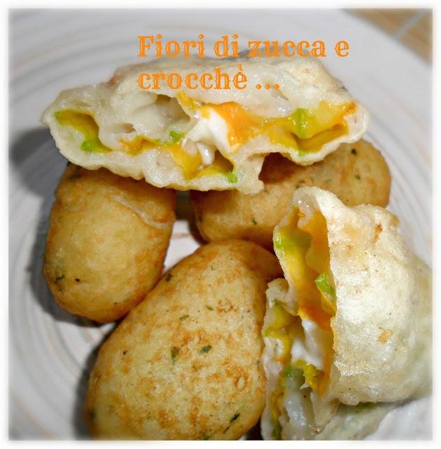 Fiori di zucca e crocchette di patate