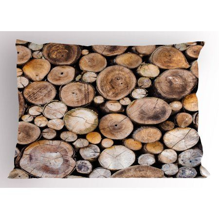 Rustic Pillow Sham Wooden Logs Background Circular Shaped Oak Tree Life and Growth Theme, Decorative Standard King Size Printed Pillowcase, 36 X 20 Inches, Pale and Sand Brown, by Ambesonne - Walmart.com
