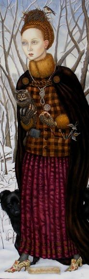 """Queen of an Uncharted Territory by Gina Litherland, 2008. Oil on masonite, 10 x 20"""""""