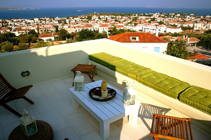 Xenon Estate villas in Spetses - panoramic view from villa Althea's master bedroom spacious veranda.  www.xenonestate.gr