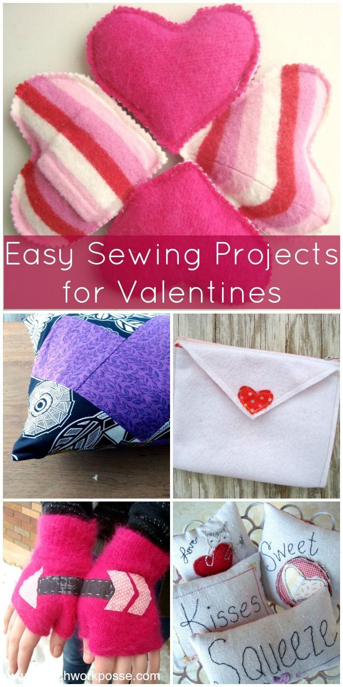 Easy DIY sewing projects for Valentine's Day. These would make great gifts, accessories or decorations.