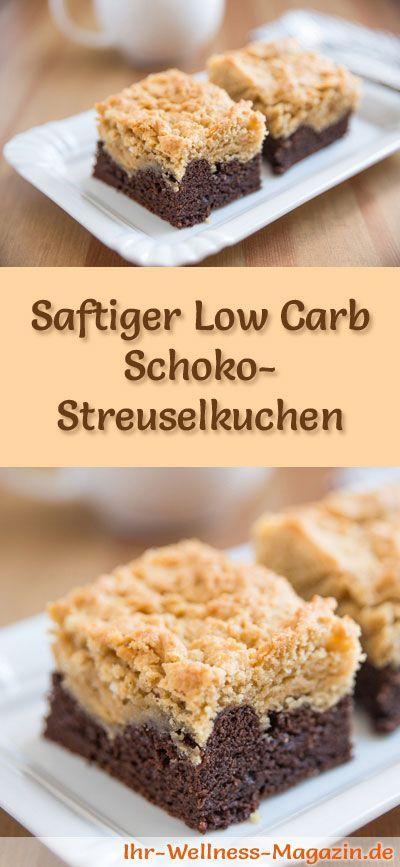 Rezept für einen Low Carb Schoko-Streuselkuchen: Der kohlenhydratarme, kalorienreduzierte Kuchen wird ohne Zucker und Getreidemehl zubereitet ...