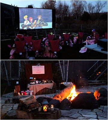 """Girls """"camping"""" adventure, complete with outdoor movie, fire pit for smores and personalized camp chairs and cozy blankets. This is probably the coolest birthday party idea/set-up that I've ever seen. I just want to be able to do this in my new backyard!!"""