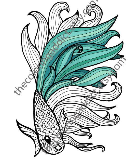 Beta Fish Coloring Sheet Animal Pdf By TheColoringAddict