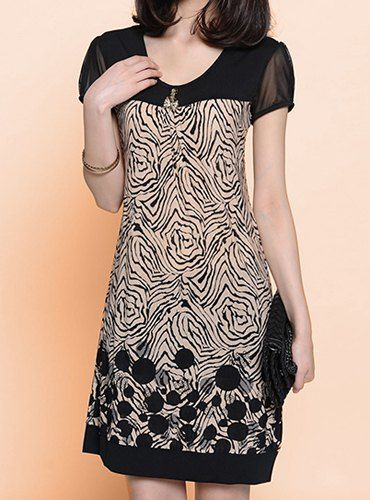Stylish Short Sleeve Scoop Neck Spliced Printed Loose-Fitting Dress For Women (AS THE PICTURE,3XL) | Sammydress.com