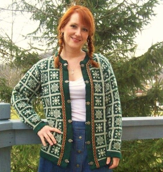 60s Nordic Cardigan Sweater MEDIUM