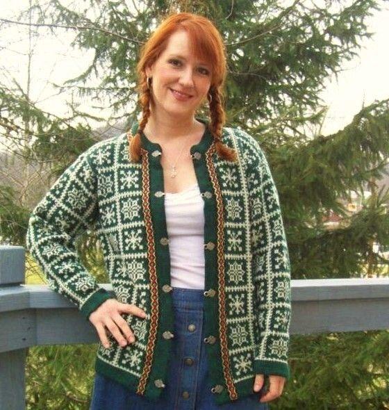 60s Nordic Cardigan Sweater MEDIUM
