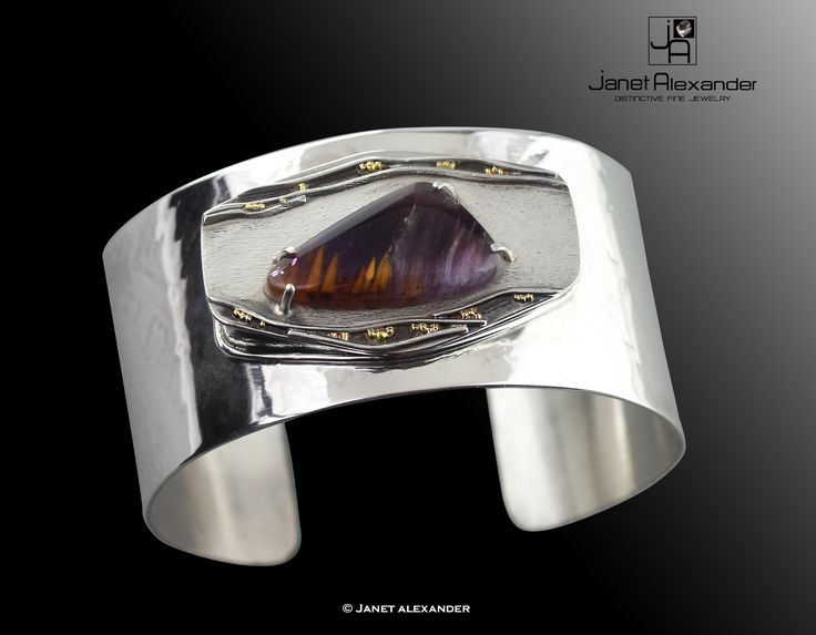 """1 1/4"""" wide roller printed sterling silver bracelet cuff with Coxinite and Amethyst. 22k gold granulation"""