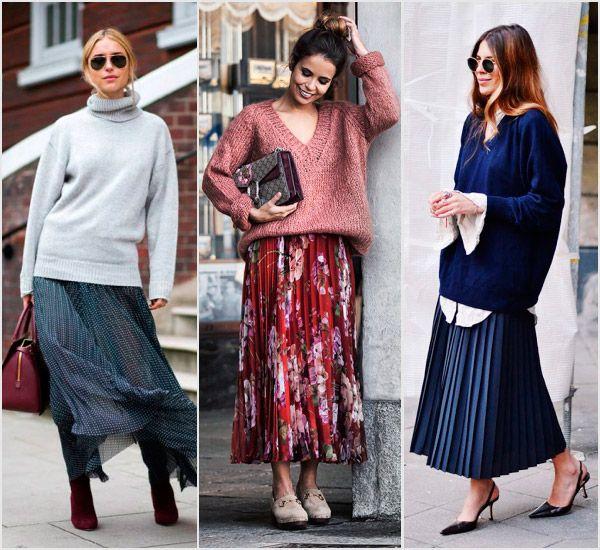 Falda plisada hasta el tobillo con jerséis de puntooversize, sudaderas monocromáticas y camisas imponentes. Cabe destacar la presencia de los modelos estampados, perfectos para los meses primaverales