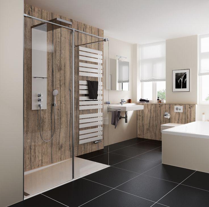 Inloopdouche met douchepaneel van HSK en doucheafscheiding Walk In Pro Concept: eenvoudige & innovatieve montage en geschikt om verschillende glassoorten en spiegelglas te combineren.