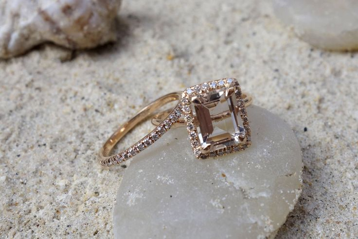 BRIDAL SET Unique Diamond Morganite Engagement Ring & Diamonds Wedding Ring Set Halo ring Jewelry Halo ring classic rings anniversary by SeaofLoveee on Etsy https://www.etsy.com/listing/519428839/bridal-set-unique-diamond-morganite
