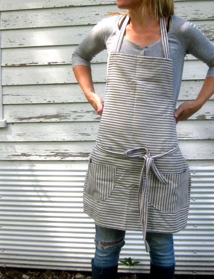 Rustic Full Kitchen Apron for Him or Her in Blue Pinstripe Ticking in The Blue and White. $24.50, via Etsy.