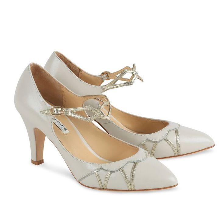 Benjamin Adams Tabitha Ivory & Gold Leather Designer Wedding Shoes