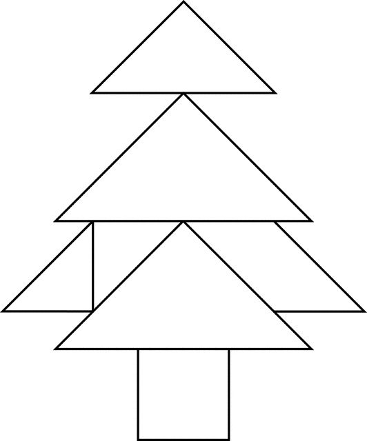 seven figures consisting of triangles squares and parallelograms are used to construct the given shape this tangram depicts a tree