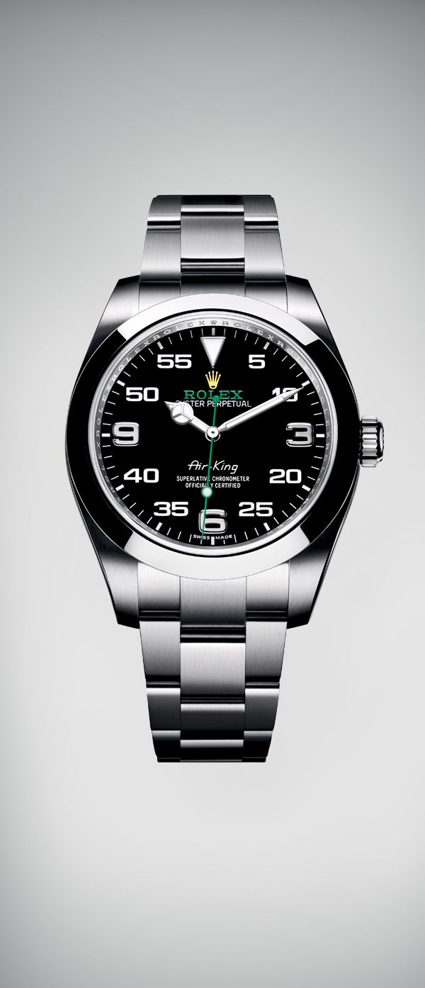 The Air-King in a 40 mm case in 904L steel. It features a distinctive black dial with a combination of large numerals marking the hours and a prominent minute scale for navigational time reading. The dial bears the name Air-King in the same lettering that was designed specifically for the model in the 1950s, together with the Rolex logo in green and yellow.