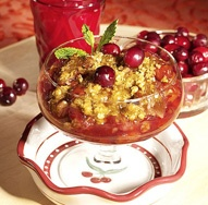 "Cheery Cherry-Pear Crisp: ""Cherries are loaded with flavonoids, fiber, potassium and traces of vitamins A and C. The antioxidants in cherries help to maintain a youthful appearance and boost natural immunity. Cherries have also been credited with easing arthritis."""