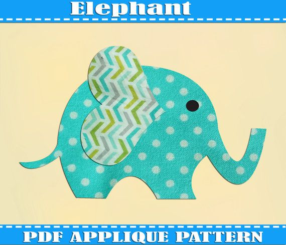 Elephant  Applique Pattern Template PDF Download Instant Fabric Shirt Design Print Brother Nursery Wall Print DIY Boy Baby Quilt Animal