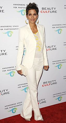 Love Halle in this tailored Vintage Roberto Cavalli ivory suit...