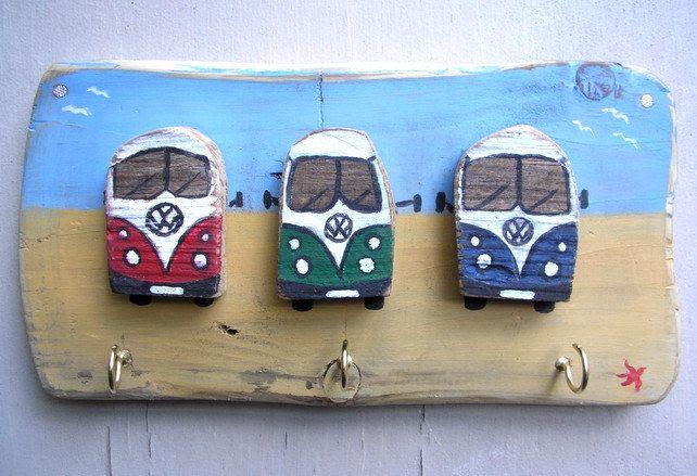 VW Camper, VW Bus, Key Holder, Kitchen Hooks, Driftwood Art, Driftwood decoration. £15.00, via Etsy.