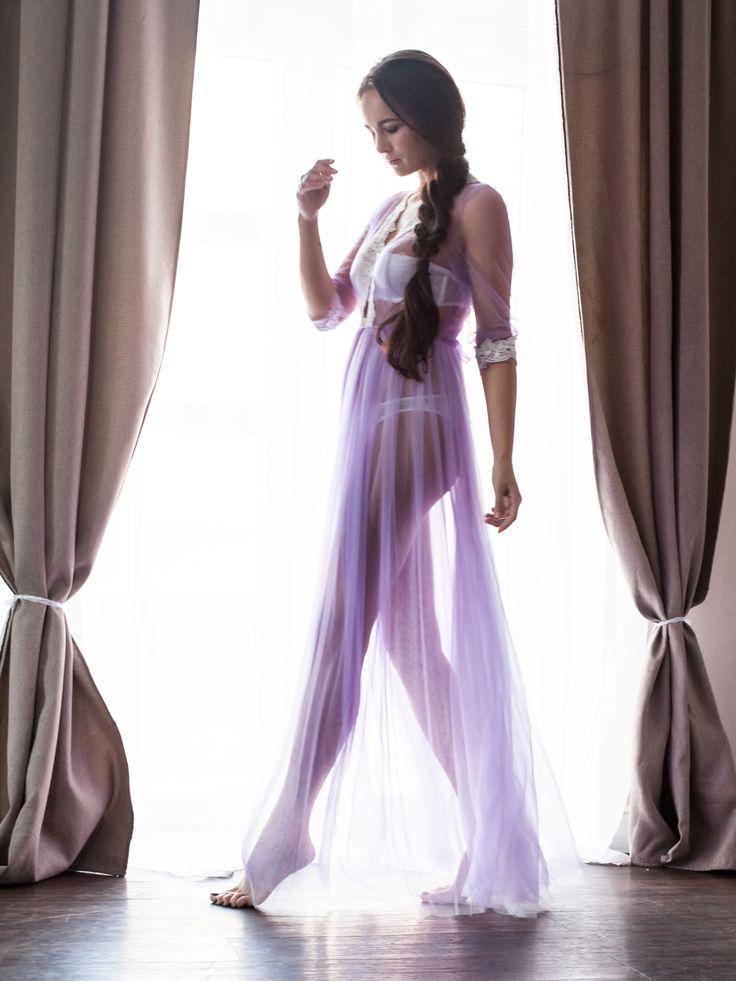 """Модель """"Сиреневые сны"""". Воздушное будуарное платье в сиреневом цвете с двойной фатиновой юбкой."""