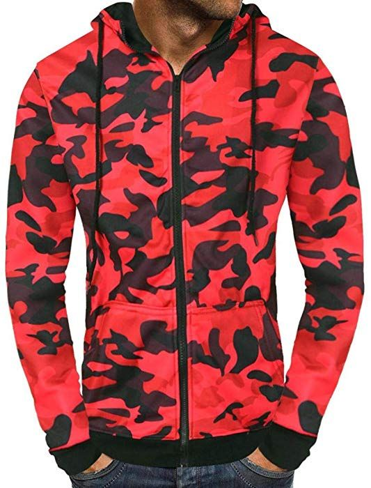 Men s Autumn Slim Fit Lightweight Camouflage Zip up Hoodie for Men Hooded  Pullover Jacket Sweatshirt (Red db1b00b161d