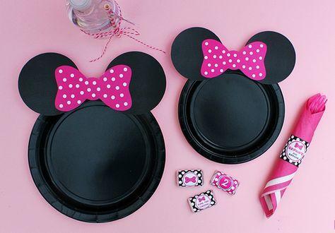 Platos de Minnie Mouse para cumpleaños de niñas