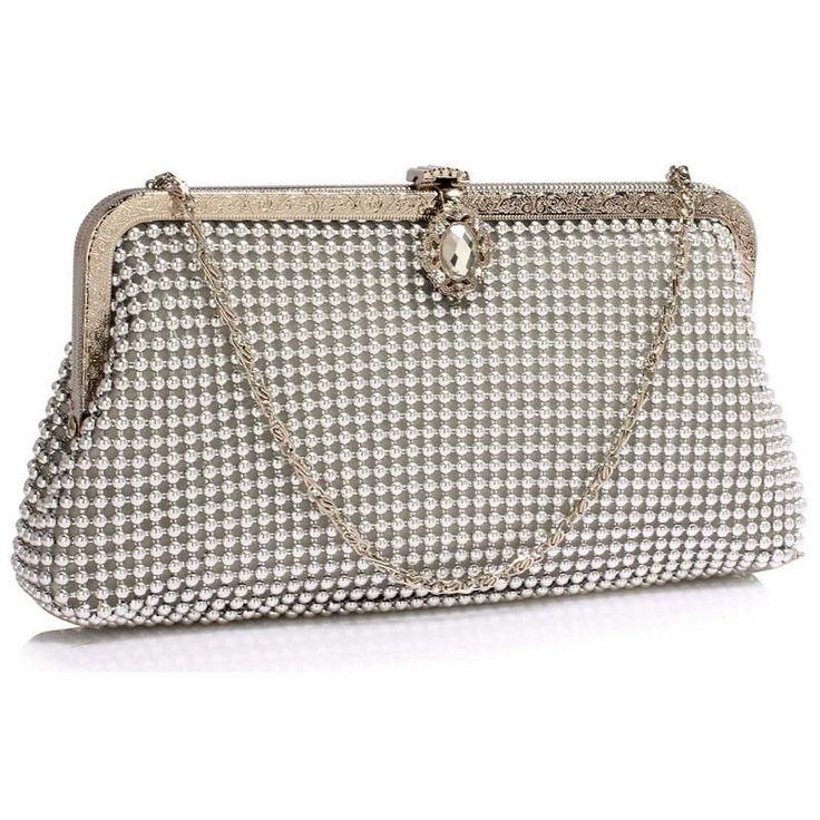 Wyjątkowa srebrna torebka wizytowa z koralików srebrny | Sklep internetowy Evangarda.pl