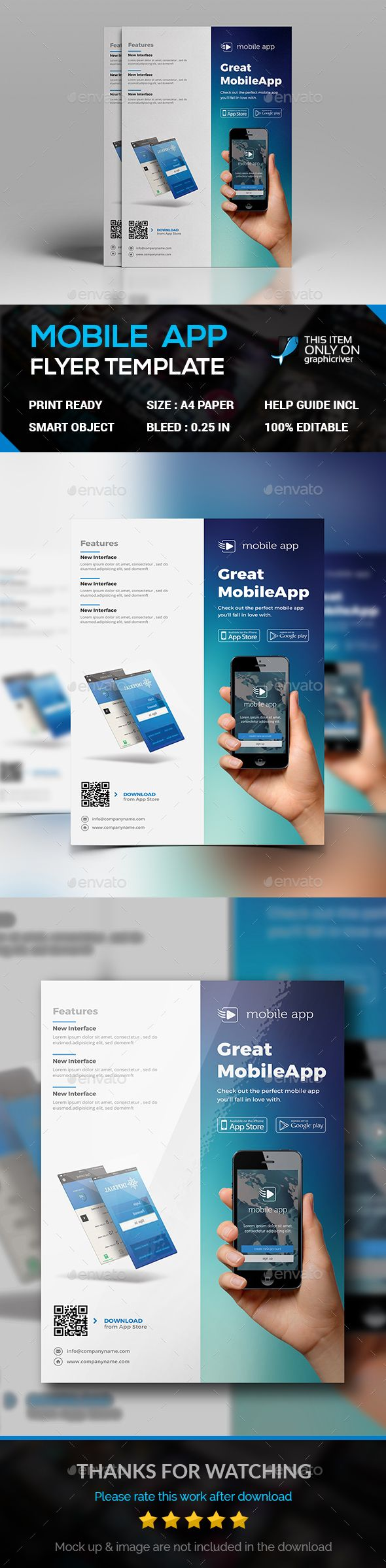 Mobile Apps Flyer — Photoshop PSD #adverts #clean • Available here → https://graphicriver.net/item/mobile-apps-flyer/17711502?ref=pxcr